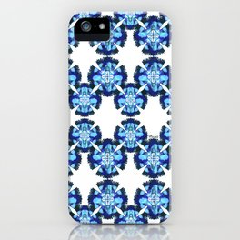 blue feathers circular pattern iPhone Case
