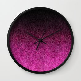 Pink & Black Glitter Gradient Wall Clock