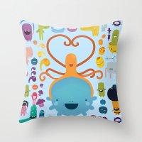 best friends Throw Pillows featuring Best Friends by Piktorama