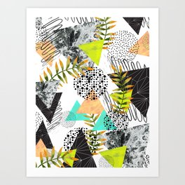 Triangles and plants Art Print