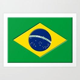 3D Brazil Flag Art Print