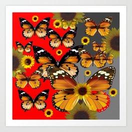 RED & GREY BROWN BUTTERFLIES ART Art Print