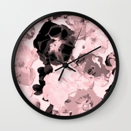 Geometric Fragmented Wild Rose Pattern Millennial Pink Wall Clock