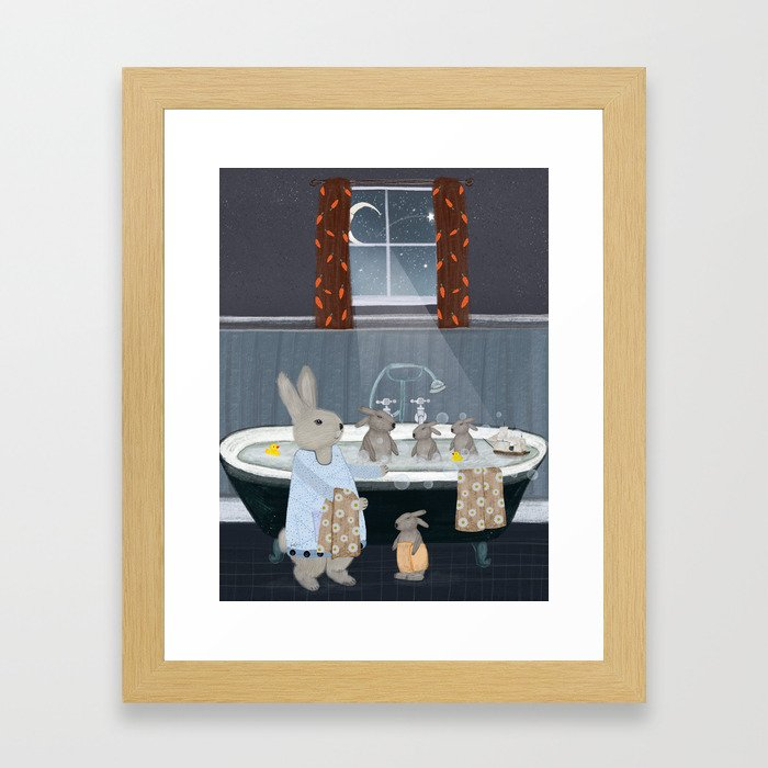 bunny bath time Framed Art Print