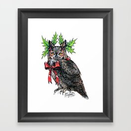 Grumpy Christmas Owl #1 Framed Art Print