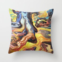 Saxophone Funk With Water & Wood Throw Pillow