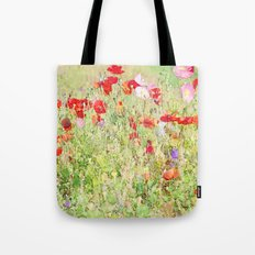 Percolated Poppies in Field Botanical Impressionist Abstract Landscape Tote Bag