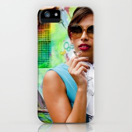 Woman and graffitti iPhone Case