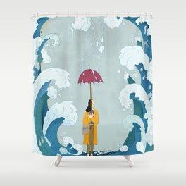 Rain & Waves Shower Curtain