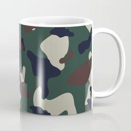 Green Brown woodland camo camouflage pattern Coffee Mug