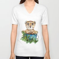 cheetah V-neck T-shirts featuring cheetah by Anna Shell