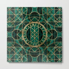 Web of Wyrd The Matrix of Fate - Gold and Malachite Metal Print
