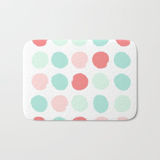 Painted dot abstract trendy colors gender neutral seaside coral tropical minimal Bath Mat