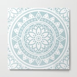 Duck Egg Blue & White Patterned Flower Mandala Metal Print