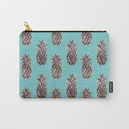 Christmas Gold Pineapples on soft teal Carry-All Pouch