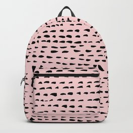Black & Pink dashes and dots Backpack