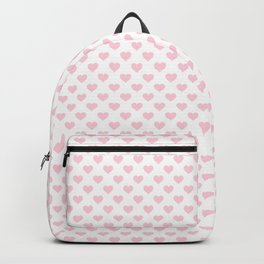 Large Soft Pastel Pink Love Hearts on White Backpack