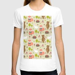 Hand drawn modern coral white green autumn animal T-shirt