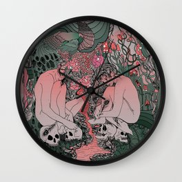 Two Sisters I: Peacock & Melon Wall Clock