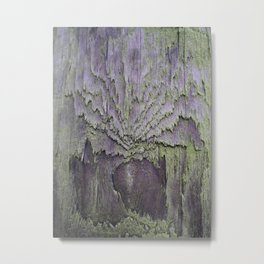 WEATHERED WOOD & LICHEN ABSTRACT Metal Print
