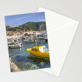 Yellow boat of Hvar Stationery Cards