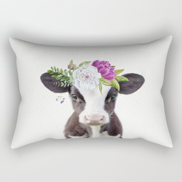 Baby Cow with Flower Crown Rectangular Pillow
