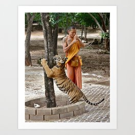 Monk and Tiger Art Print