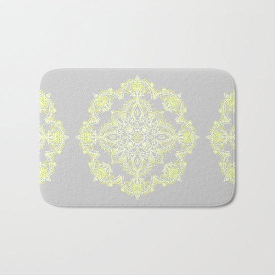 Pale Lemon Yellow Lace Mandala on Grey Bath Mat
