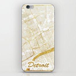 Detroit Map Gold iPhone Skin