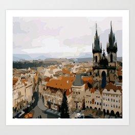 Prague CZ street view Art Print