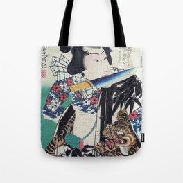 Kunichika Tattooed Warrior with Sayagata Pattern Background Tote Bag