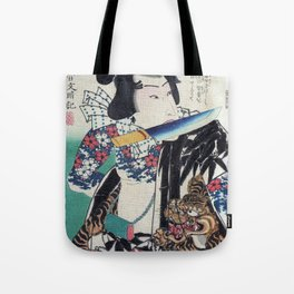 Kunichika Tattooed Warrior with Sayagata Pattern Background Tote Bag