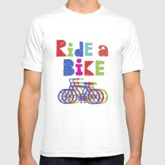 Ride a Bike - Sketchy White MEDIUM Mens Fitted Tee