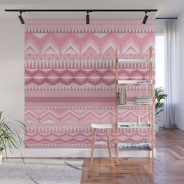Blush pink white aztec chevron geometrical pattern Wall Mural