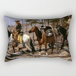 """Frederic Remington Western Art """"Prospecting for Cattle Range"""" Rectangular Pillow"""
