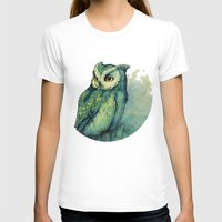 background T-shirts featuring Green Owl by Teagan White