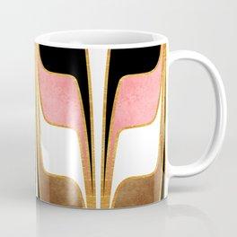 Mid Century Modern Liquid Watercolor Abstract // Gold, Blush Pink, Brown, Black, White Coffee Mug