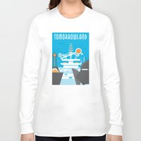 travel poster Long Sleeve T-shirts featuring Tomorrowland Travel Poster by Rob Yeo Design