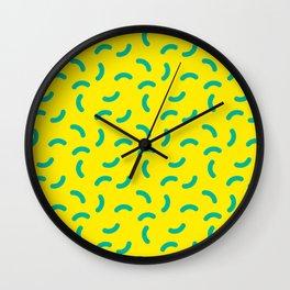Green Yellow Squiggle Pattern Wotsits Wall Clock