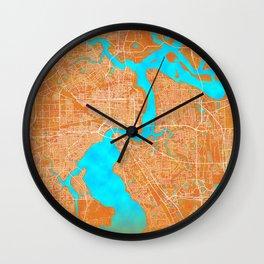 Jacksonville, FL, USA, Gold, Blue, City, Map Wall Clock