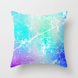 Modern turquoise purple watercolor abstract marble Throw Pillow