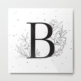 Black Letter B Monogram / Initial Botanical Illustration Metal Print