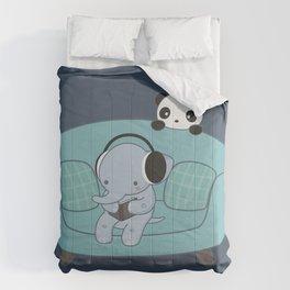 Kawaii Elephant And Panda Comforters