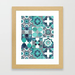 Spanish moroccan tiles inspiration // turquoise green silver lines Framed Art Print