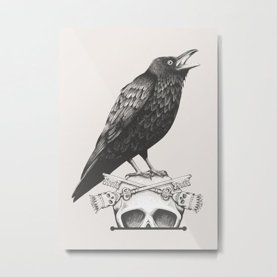 Black Crow & Skull Metal Print