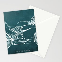 D Superbike 1299 Panigale 2015 green blueprint Stationery Cards