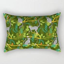 Lemurs in a Green Jungle Rectangular Pillow