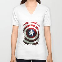 steve rogers V-neck T-shirts featuring Captain Steve Rogers Shields  by neutrone