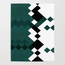 Emerald Green White Black Geometrical Pattern Poster