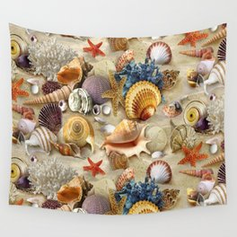 Fancy Seashells And Starfish Wall Tapestry